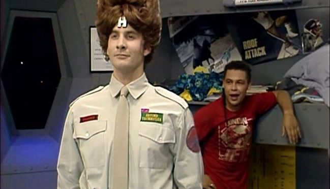 In Future Echoes, Rimmer from Red Dwarf has a beehive hairdo.