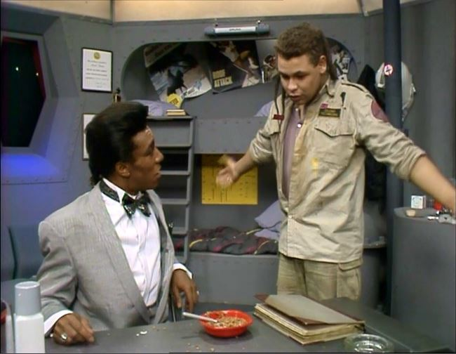 The cat and Lister in Waiting for God Red Dwarf