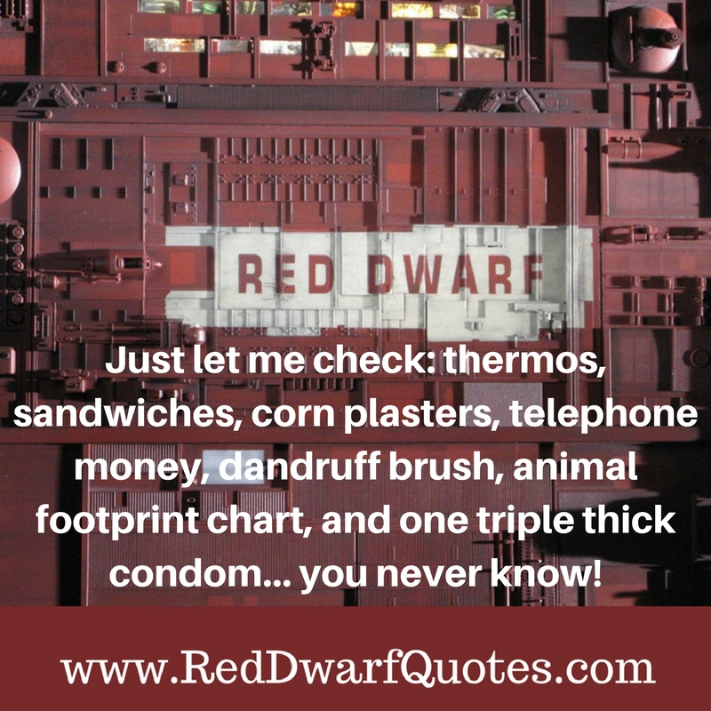Just let me check: thermos, sandwiches, corn plasters, telephone money, dandruff brush, animal footprint chart, and one triple thick condom...you never know!