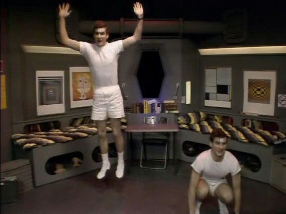 Two Rimmers exercising in Red Dwarf