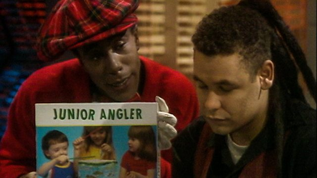 Cat asking Lister to play a game of junior angler in Red Dwarf