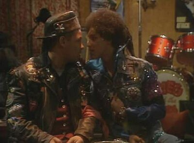 Lister meeting his younger self in Red Dwarf Timelsides