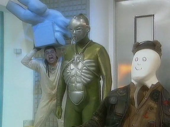 Lister trying to escape from Legion in Red Dwarf